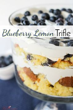 This pretty Blueberry Lemon Trifle was the result of a kitchen disaster, but you'd never know it! | easy dessert | stabilized whipped cream