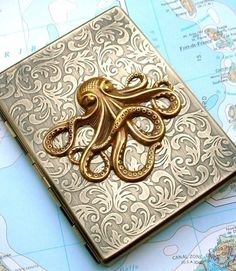 Metal Cigarette Case Brass Octopus Case Nautical Steampunk Gothic Victorian Antiqued Gold Brass Slim Metal Wallet Oversized Card Holder. $48.00, via Etsy. OMG I <3 THIS! :0