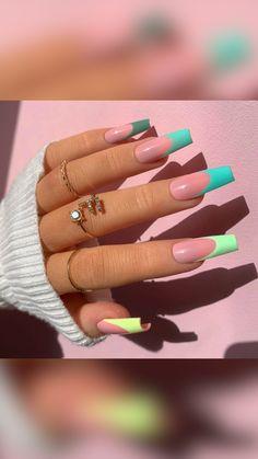 Acrylic Nails Coffin Pink, Long Square Acrylic Nails, Simple Acrylic Nails, Bright Summer Acrylic Nails, Colored Acrylic Nails, Edgy Nails, Stylish Nails, Swag Nails, Acylic Nails