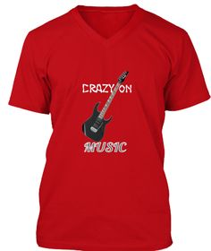 Crazy   On  Music Red T-Shirt Front