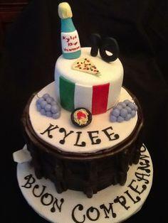 Italian theme birthday cake Italian Themed Parties, Italian Party, Rice Krispie Cakes, Rice Krispies, Birthday Party Themes, Birthday Cake, Big Cakes, Pizza Party, Amazing Cakes