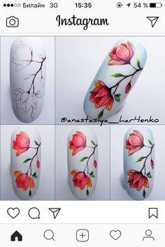 Water Nail Art, Gel Nail Art, Spring Nail Art, Spring Nails, Flower Nail Art, Manicure E Pedicure, Gel Nail Designs, Nail Decorations, Nail Tutorials