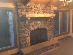 elevated stone fireplace without hearth - Google Search