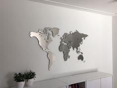 Inspirational Design Weltkarte aus Edelstahl B ro