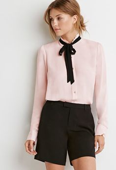 Tied-Bow Blouse from Forever Saved to Tops. Shop more products from Forever 21 on Wanelo. Colourful Outfits, Colorful Fashion, Cool Outfits, Fashion 101, Fashion Outfits, Bow Tie Blouse, Forever 21, Professional Wear, Couture