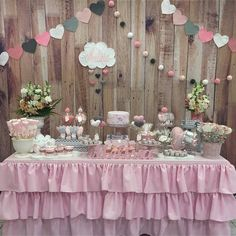 Mesa de dulces Girl Baby Shower Decorations, Birthday Decorations, Baby Shower Themes, Baby Party, Baby Shower Parties, Fiesta Baby Shower, Baby Girl Elephant, Butterfly Baby, Valentines Day Party