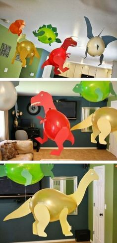 11 ganz tolle Bastelideen, was man mit Luftballons machen kann! - DIY Bastelideen (Diy Geschenke Basteln) Dinosaur Party Decorations, Balloon Decorations, Diy Craft Projects, Diy And Crafts, Diy For Kids, Crafts For Kids, Happy B Day, Dinosaur Birthday, Baby Party