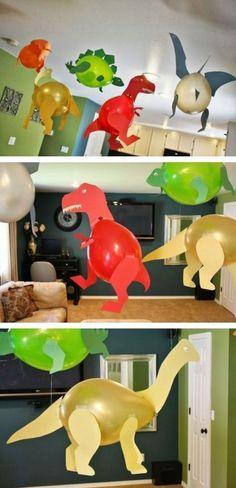 11 ganz tolle Bastelideen, was man mit Luftballons machen kann! - DIY Bastelideen Dinosaur Party Decorations, Balloon Decorations, Dinosaur Birthday, Baby Birthday, Diy Craft Projects, Diy And Crafts, Diy For Kids, Crafts For Kids, Happy B Day