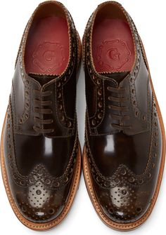 Grenson Brown Leather Shortwing Archie Brogues