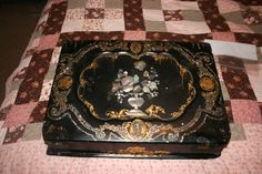 Antique Victorian black laquered mother of pearl writing desk. When everyday items were just SO pretty! http://www.ebay.com/itm/Antique-Mid-1800s-Victorian-Black-Lacquer-Mother-Pearl-Lap-Desk-/231277441646?pt=Antiques_Furniture&hash=item35d935b26e THIS Piece has SOLD