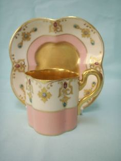 A rare early Coalport demitasse cup and saucer, surrounded with jewels and agate. The cup is high and wide. Tea Cup Set, My Cup Of Tea, Cup And Saucer Set, Tea Cup Saucer, Tea Sets, China Cups And Saucers, Teapots And Cups, China Tea Cups, Teacups