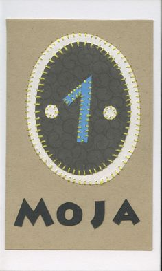 moja (one)... swahili flashcards 4x6 inches hand-cut and sewn paper collage