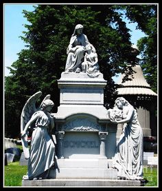 "FAMILY MEMORIAL AT FOREST LAWN CEMETERY:    Beautiful #family memorial/headstone at Forest Lawn #Cemetery in #Buffalo , New York. Multiple members of the #Schickel family, who died from the mid 1800's - the very early 1900's, are buried here. An ""oil painting"" special effect has been added digitally to this photograph. The Fine Art America watermark will not be on your purchased product.  Prices start at $4.30"