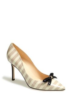 kate spade tan and white pointy toe stripe with black bow pumps {40% now during Nordstrom's Half Yearly Sale!!}