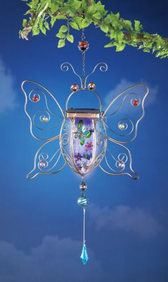 #29438 Solar Butterfly Hanging Bug Zapper by sensationaltreasures