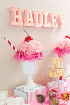 Absolutely GORGEOUS pink-and-white ice cream party. This girls birthday has lots of ideas for an amazing ice cream birthday party! And I love the name Hadley. Party Fiesta, Festa Party, Sundae Party, Candy Party, Candy Decorations Party, Ice Cream Decorations, Dessert Party, Decoration Party, Birthday Decorations