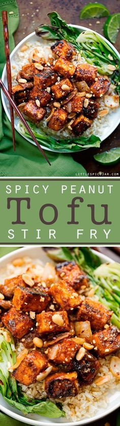 Spicy Peanut Tofu Stir Fry - Loaded with flavor and it's vegetarian/vegan/gluten free friendly! #glutenfree #stirfry #tofustirfry #veggiestirfry | Littlespicejar.com