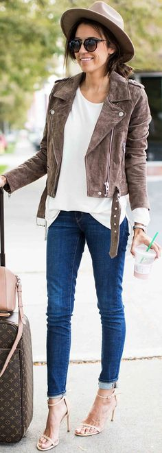 #fall #trending #outfits | Suede Jacket + White Tee + Jeans