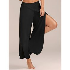 Flowy Layered High Waisted Slit Palazzo Pants (20 BAM) ❤ liked on Polyvore featuring pants, high-waist trousers, palazzo pants, high-waisted palazzo pants, slit pants and highwaist pants