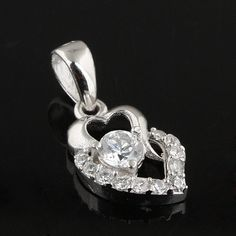 Fashion 925 sterling silver Pendants wholesale and with white transparent zircon sold by pcs