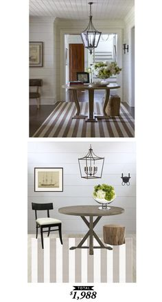 A neutral, striped entryway featured on @verandamag and recreated by @audreycdyer  for $1,988 for Copy Cat Chic #roomredo