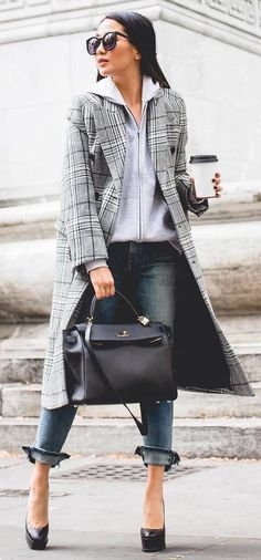 cool outfit idea _ plaid coat + sweatshirt + bag + heels + jeans