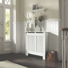 Cambridge Medium White Painted Radiator Cover Departments DIY At B Q Cozy Design White Radiator Covers, Modern Radiator Cover, Painted Radiator, Traditional Radiators, English Cottage Interiors, Black And White Tiles, Diy Cabinets, Shoe Cabinets, Cover