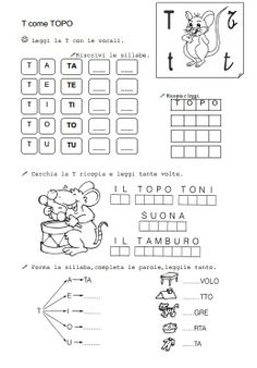 1000 images about sillabe on pinterest italian lessons final consonant deletion and minimal pair - Esercizi di letto scrittura ...
