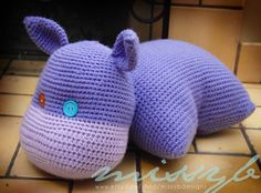 Crochet Hippo Pillow Pet Pattern  Hippo Stuffed Pillow Animal