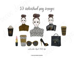 A chic & glamorous clipart collection of hand drawn fashion illustrations painted in watercolors and embellished with gold glitter. This clip art set is perfect for fashion boutiques, websites, blogs, marketing material, fashion and beauty presentations, invitations, branding, and so much more! A basic commercial license is included.  WHAT YOU GET: -10 individual high quality images -PNG file format 300 dpi -girl illustration is apprx 2550 x 3300 pixels  The watercolor splashes in the fir...