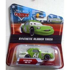 Disney / Pixar CARS Movie Exclusive 155 Die Cast Car with Synthetic Rubber Tires Vitoline by Mattel. $22.50. Disney Pixar Cars Kmart Exclusive Piston Cup Racers with Synthetic Rubber Tires from Mattel. For Ages 3 & Up. Vitoline #61 (Kmart Exclusive with Synthetic Rubber Tires!) Disney Pixar Cars diecast toy. Disney Pixar Cars Exclusive Vitoline No. 61 Diecast Car with Synthetic Rubber Tires 1:55 Scale