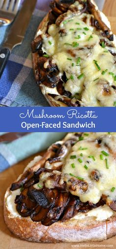 This Mushroom Ricotta Open-Faced Sandwich is a delicious treat for mushroom lovers! Plus, get a great mushroom cleaning tip and learn about my Baked Sandwiches, Gourmet Sandwiches, Healthy Sandwiches, Wrap Sandwiches, Gourmet Recipes, Vegetarian Recipes, Cooking Recipes, Healthy Recipes, Tostadas