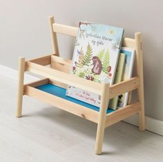 Low Bookshelf: The size of the shelf limits the amount of books that can be displayed at a time, which will help your toddler to pick out a book on their own—it can be overwhelming at this age if there are too many options. Having the cover of the book showing, versus the spine, also makes this a more inviting activity for your child. Ikea Book, Learning Tower, Toddler Books, Ikea Toddler Room, Ikea Kids Room, Toddler Bed, Bedroom Storage, Solid Pine, Boy Room