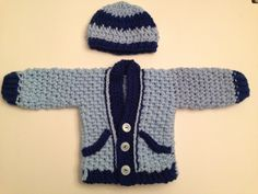 A personal favorite from my Etsy shop https://www.etsy.com/listing/252667807/baby-sweater-with-hat-blue-with-dark