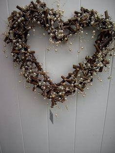 Wood and pearl spray heart wreath. Christmas Hearts, Christmas Love, Christmas Design, Christmas Projects, Christmas Holidays, Christmas Wreaths, Christmas Decorations, Beautiful Christmas, Holiday Crafts