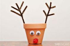 24 Christmas Crafts for Kids » Reindeer Terracotta Pot