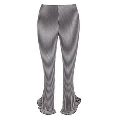 Gingham check trousers ($170) ❤ liked on Polyvore featuring pants, capris, side zip pants, button pants, cropped trousers, gingham pants and gingham trousers