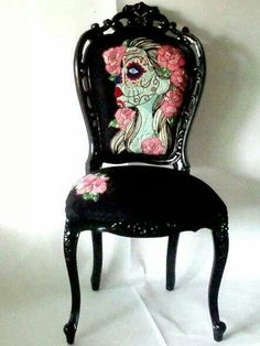 Pretty sugar skull chair… perfect for a vanity or dressing room