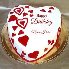Cute and Sweet Girlfriend Special Birthday Cake With Name.Name on Heart Cake.Cake With Lover Name.Print Lover Name on Cake Greeting.Personalize Bday Wish Cake