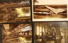Lot 199 - 4 x Vintage blokey postcards inc Vickers Gun Mounting Department & wood working shop, Brookland's motor course etc