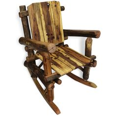 Rustic Rocking Chair, Reclaimed Wood Rocking Chair, Reclaimed Wood... ❤ liked on Polyvore featuring home, furniture, chairs, accent chairs, wooden accent chairs, wood accent chairs, rustic log chairs, wood rocker and rustic log furniture