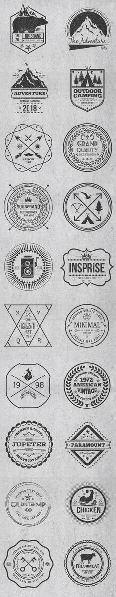 Buy Vintage Style Badges and Logos Vol 4 by mamanamsai on GraphicRiver. Vintage Style Badges and Logos Vol 4 Files Include: AI – Illustrator CS, Illustrator 10 EPS . Logos, Logo Branding, Branding Design, Logo Design, Badge Design, Tee Design, Vintage Style, Vintage Fashion, Illustrator Cs5