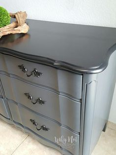 This classy dresser was given a fresh outlook thanks to Why Not Redesign! Custom color mix made with GF Queenstown Gray Milk Paint and Black Pepper Chalk Style Paint.