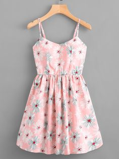 Shop Leaf Print Random Lace Up Back Cami Dress online. SheIn offers Leaf Print Random Lace Up Back Cami Dress & more to fit your fashionable needs. Cute Summer Outfits, Cute Casual Outfits, Pretty Outfits, Pretty Dresses, Spring Outfits, Beautiful Dresses, Casual Dresses, Short Dresses, Summer Dresses