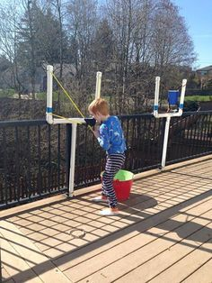 DIY: Large Sling Shot. Great activity for Angry Birds theme Birthday. Super cheap and easy to construct using PVC pipes.