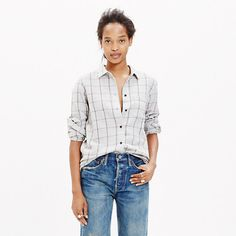 A longer, leaner, ready-to-layer version of our favorite tomboy button-down shirt. An easy shape in a timeless grey-and-burgundy plaid, with a touch of wool to make it extra warm and cozy.  <ul><li>True to size.</li><li>Cotton/wool.</li><li>Machine wash.</li><li>Import.</li></ul>