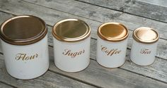 Vintage Kitchen Canister Set of 4 Metal Canisters Mid Century by Decoware Retro