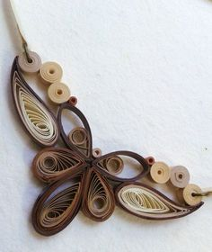 Quilling necklace. Milky coffee paper necklace. by Leetilou