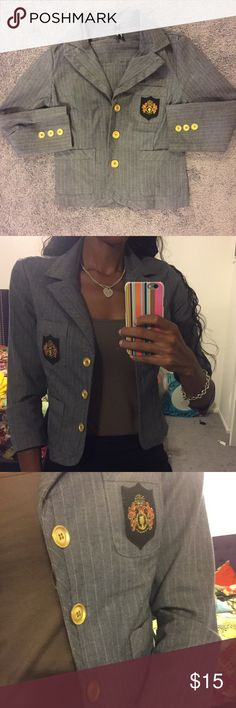 Shrunken Preppy Blazer Check out the gold buttons! Perfect for work or school. Also can be used for a Halloween costume. Wear it with a pencil skirt or skinny jeans! Wet Seal Jackets & Coats Blazers