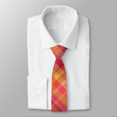Red Orange Plaid Pattern Tie http://www.zazzle.com/red_orange_plaid_pattern_tie-256322318265376315?utm_content=buffer81deb&utm_medium=social&utm_source=pinterest.com&utm_campaign=buffer #mens #tie #necktie